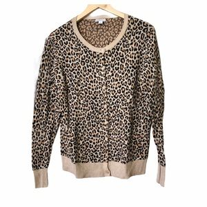 Merona Cheetah Print Button Cardigan Size Large